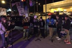 2016 Holiday Parade BSHS band on corner